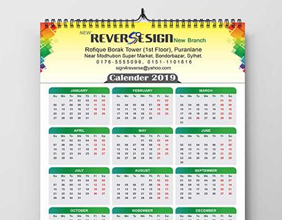 Calendar Design 2019 for Reverse Sign