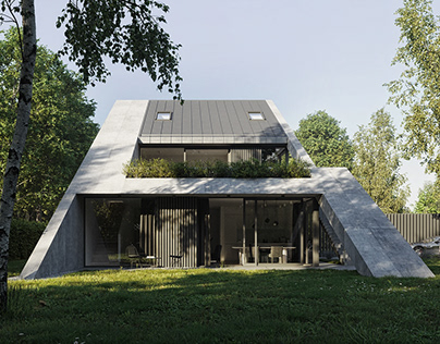 Triangular twin house