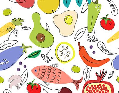 Food. Seamless pattern