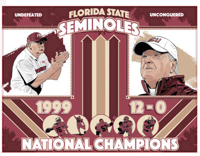 POSTER - FSU FOOTBALL ILLUSTRATED POSTER