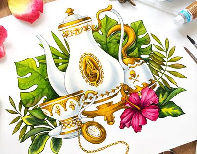 NovelTea Tins - Pekoe Pan Tea Book Packaging Design
