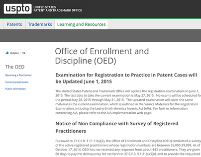 US Patent and Trademark Office | OEDIS Wireframes