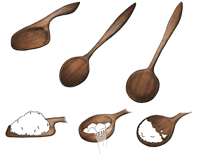 Hand carved Kitchen tools