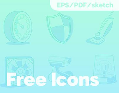 6 free neon icons