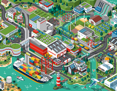 Wieland, sustainability report, isometric illustration