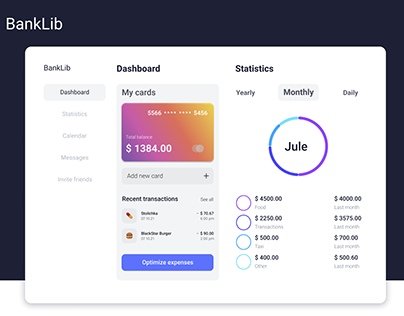 Dashboard for Online Banking