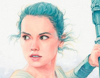 Rey (Star Wars) watercolor