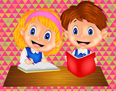 3D Happy Kids Studying