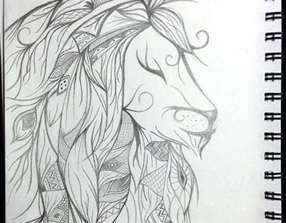 Elegant Lion Drawing