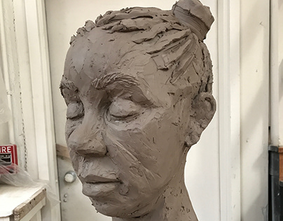 "Portrait Bust 3, Water Based Clay, 12""x12""x16""- 2017"