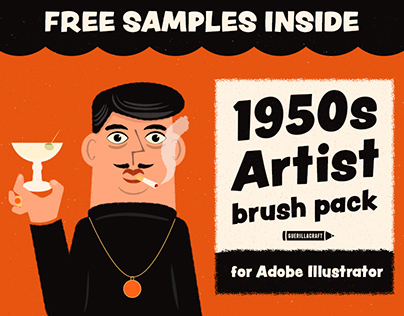 1950s Artist Brushes for Illustrator + FREE SAMPLES