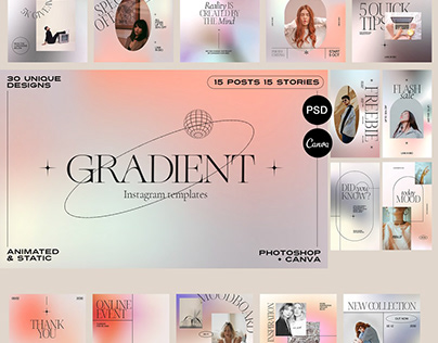 Gradient Aesthetic Instagram Posts & Stories Templates