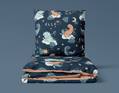 Dino Dream - watercolor textile pattern