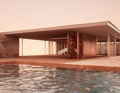 Sunset Barcelona Pavilion
