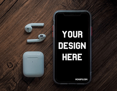 Free iPhone Mockup with AirPods on a Wooden Table