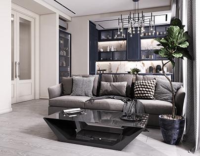 Визуализация гостиной в современном стиле/ ЖК Ривьера