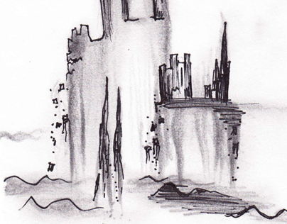 """The City in the Sea"" storyboard illustrations"
