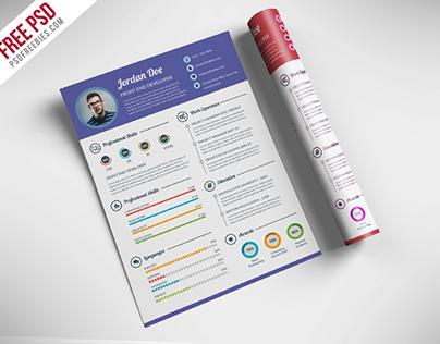 Freebie : Professional Resume CV Template Free PSD