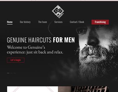 Landing page for imaginary barber shop.