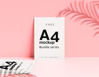 Free modern shadow A4 Photoshop mockup bundle series