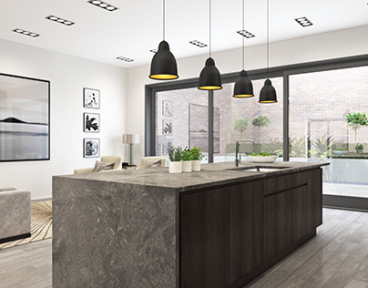 Handle-less kitchen CGI