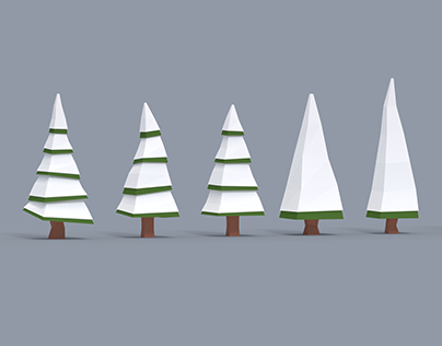 Low Poly Snowy Trees - Free Asset Pack