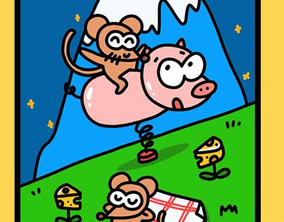 shidama鼠年鼠不尽形象插画money mouse illustration