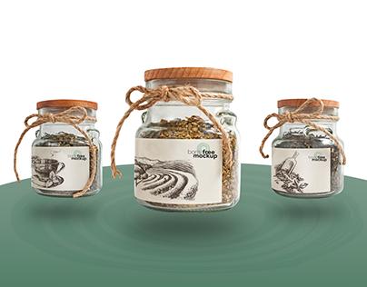 Free PSD set of 3 glass jars of tea mockup