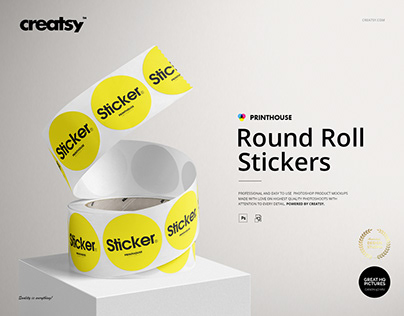 Round Roll Stickers Mockup Set