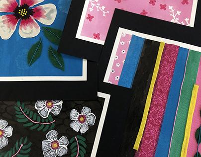 Floral set, mixed media art
