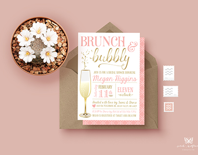Brunch & Bubbly Wedding Shower Invitations