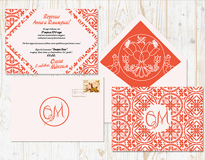 Свадебные приглашения(двустороння открытка + конверт)