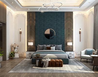 Neoclassic master bedroom design in kSA