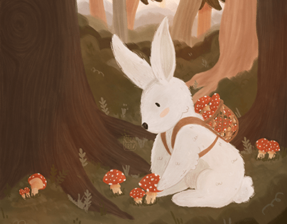 A bunny recollecting mushrooms