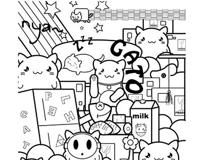 Ilustração - Doodle - Gatos