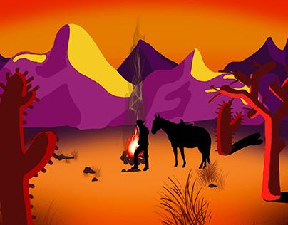 Cowboy landscape illustration