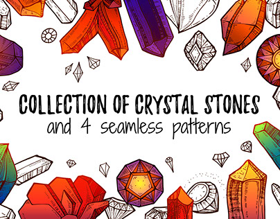 Collection of Crystal stones and 4 seamless patterns