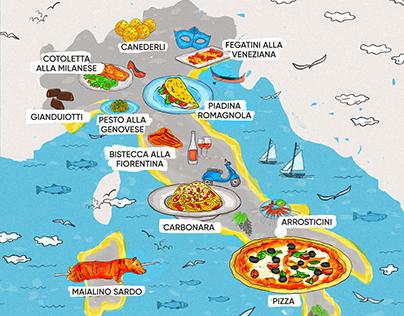 Food Map Illustrations