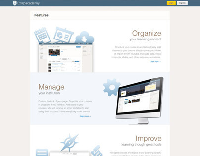 Corpacademy Features page