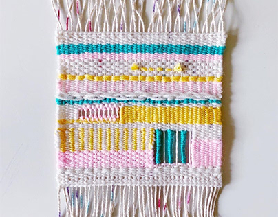 Square Pastel Woven Wall Hanging