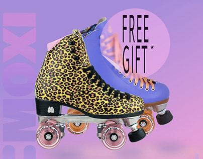Landing page, Moxi roller skates