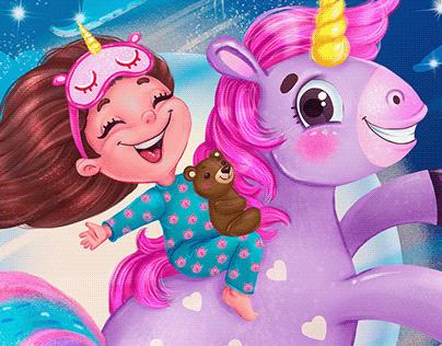 Children's illustration. Character girl on a unicorn.