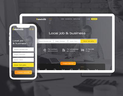 Website design for a job search portal in dark colors
