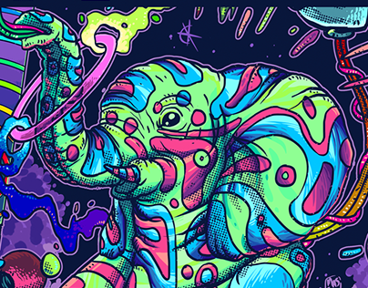 Gig Poster - Psychedelic Elephant - Jungle Ting!