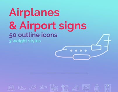 Airport signs & airplanes icons