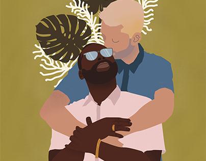 James + Justin: Engagement Illustration