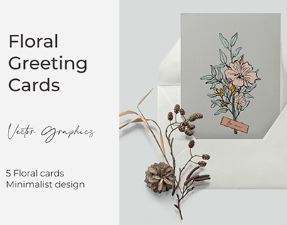 Floral greeting cards with love quotes. Vector graphics