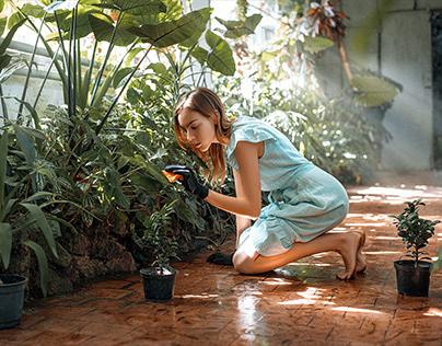 Worker in botanical garden