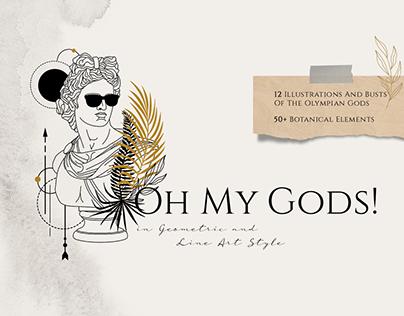Oh My Gods! Olympian Gods In Line Art Style