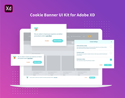 Cookie Banner UI Kit for Adobe XD
